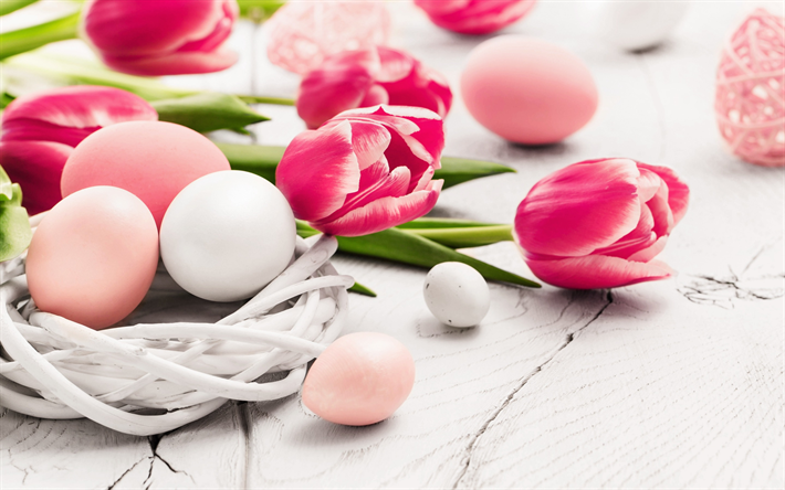 Download wallpapers spring, Easter, pink tulips, eggs